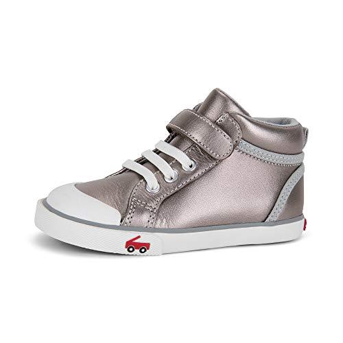 See Kai Run - Peyton High Top Sneakers for Kids, Pewter Leather, 10 (High Top Sneaker Girls)