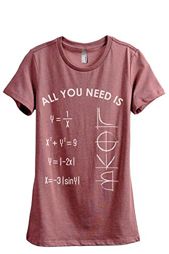 T-shirt Relaxed Crew Love (Thread Tank All You Need is Love (Math) Women's Fashion Relaxed T-Shirt Tee Heather Rouge Medium)