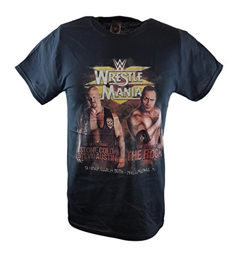 WWE Wrestlemania 15 The Rock Vs Stone Cold Steve Austin Poster T-Shirt-L by WWE