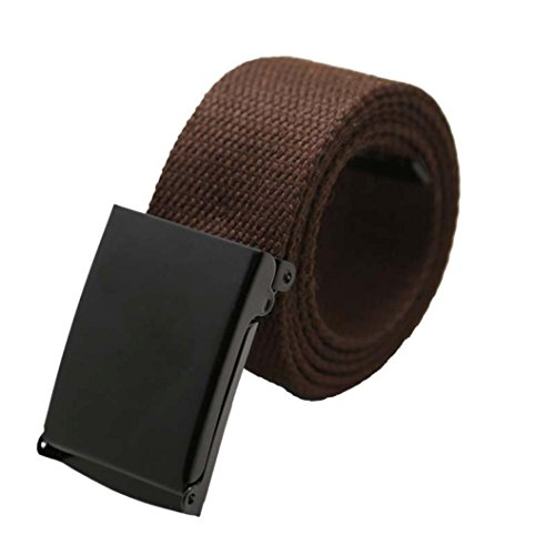[Mchoice Unisex Plain Webbing Men Boys Waist Belt Casual Canvas Waistband (K)] (35 Mm Bridle)