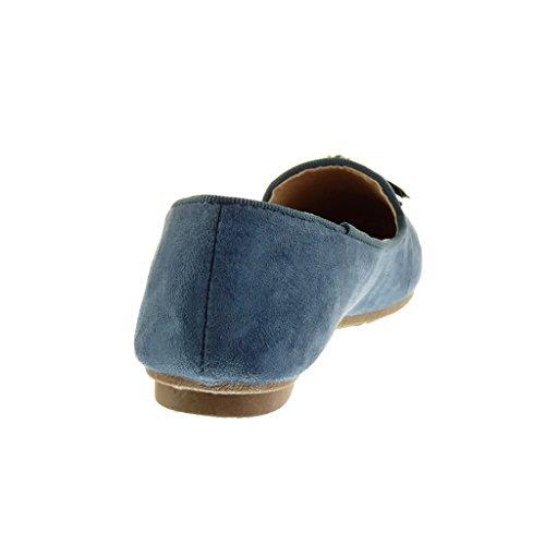 Angkorly - Chaussure Mode Mocassin slip-on femme bijoux fantaisie Talon bloc 1.5 CM - Bleu