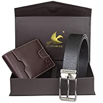 Hornbull Mens Brown Wallet and Black Belt Combo BW93109