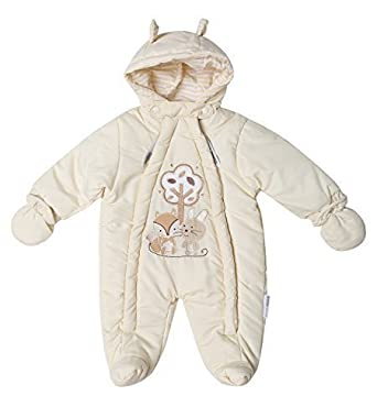 0a521f587232 Baby Unisex Boys Girls Hooded Snowsuit Quilted Pramsuit All in One ...
