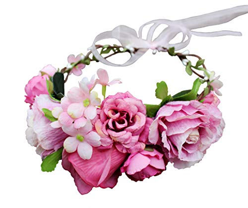 Vivivalue Rose Flower Crown Boho Flower Headband Hair