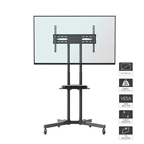 1home Mobile TV Stand Trolley Cart Mount Exhibition Display for 32