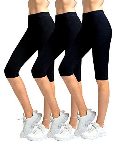 (MOPAS Women's Ribbed Waistband Knee Length Plain Leggings (Pack of 3) - Black)