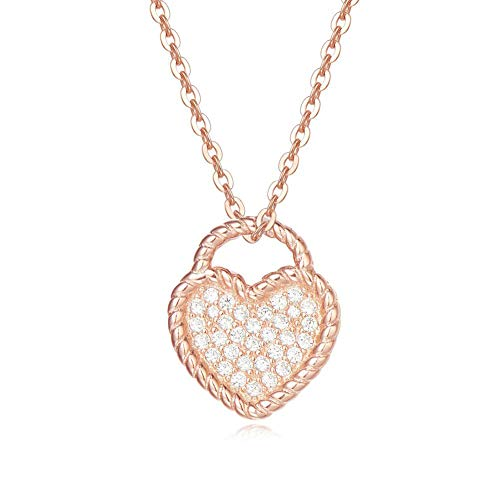 FANCIME Necklace Pendant Rose Gold plated Heart-shaped Setting Simulated Diamond Pendant necklace for women girls adjustable Necklace Chain 16 + 1 inch ()