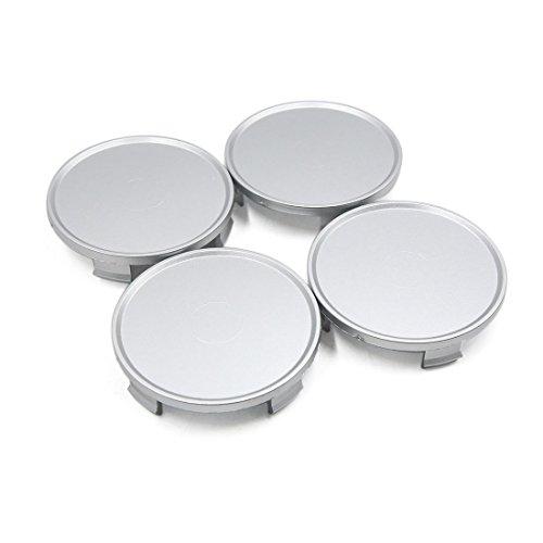 uxcell 4pcs 73mm Dia Silver Tone 4 Lugs Plastic Car Hub Cap Rim Wheel Center Covers