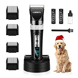 Dog Grooming Clippers Cordless Pet clippers for dogs Rechargeable Low Noise for thick Coats Heavy Duty by DEATTI