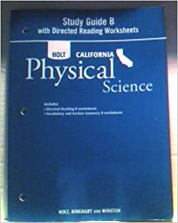 Printables Holt Physical Science Worksheets holt science technology california study guide b with directed reading worksheets grade 8 physical rinehart an