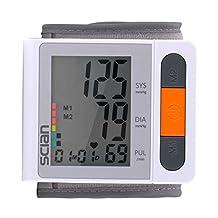 iClightscianDigital Wrist Blood Pressure Monitor Electronic Sphygmomanometer Irregular Heartbeat Detector Large LCD display with 2x90 Memories