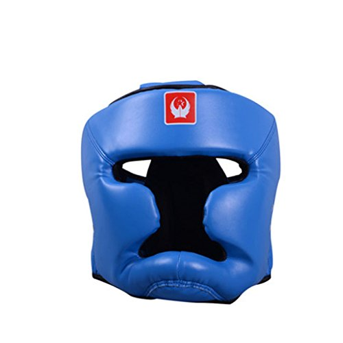 Pu Leather Sanda Boxing Head Guard Headgear Face Protector Sparring Gear Helmet, all-around protect for MMA/Boxing/Muay Thai (Blue)