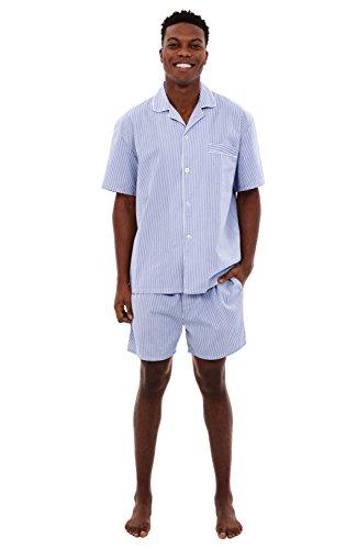 Alexander Del Rossa Mens Cotton Pajamas, Short Button-Down Woven Pj Set, Large Blue Striped (A0697R16LG)