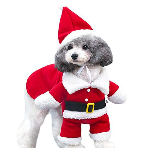 LuShmily Christmas Cat Costumes Two Legs with Cap, Santa Claus Suit Dog Costume Dress Up, Cats Jumpsuit Winter Coat Warm Clothes (Santa Outfits Dog)