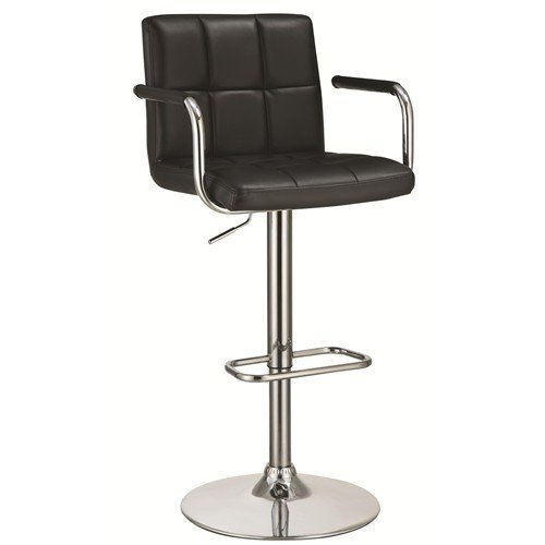 (Coaster Contemporary Black Faux Leather Upholstered Adjustable Bar Stool with Arms)