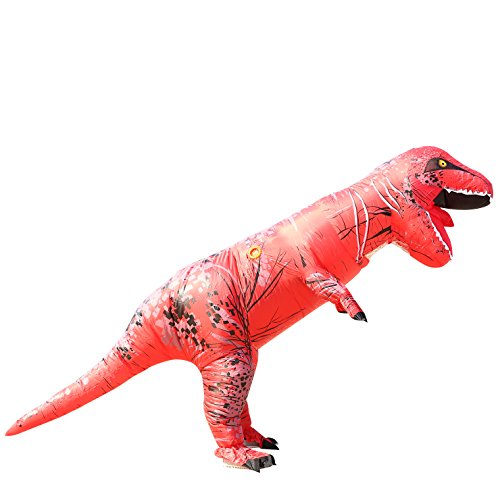 [Men's Novelty Fancy Costume Inflatable Red t-rex Blow up Outfit for Halloween & Christmas] (Red Jumpsuit Costume)