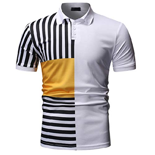 YOcheerful Men's Casual Tops Stripe O-Neck Pullover Short Sleeve T-Shirts Casual Henley Blouses(X-White, M) ()