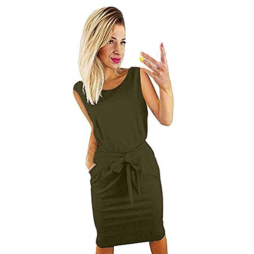 Womens Mini Dress Elegant Lantern Summer Sleeveless Wear to Work Casual Pencil Dress Pocket Bodycon Dress with Belt Army Green