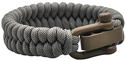 Cha-O-Ha Design Co. Survival Utility Bracelets Handmade In USA (Foliage Grey Paracord Weave Bracelet, (1 8 Snare Lock)
