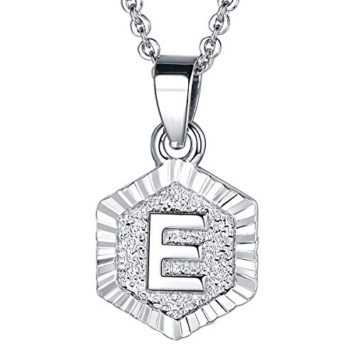 (FOCALOOK E Initial Necklace Platinum Plated Tiny Alphabet Charm Letter Monogram Jewelry for Women Girls)