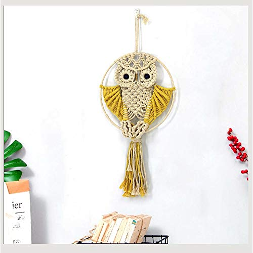"CHICIEVE Owls Macrame Wall Hangings Boho Woven Tapestry for Bedroom Above Bed Wall Decor and Living Room 22"" L X 11.6"" W (Yellow)"