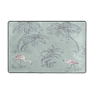 Felpudo puerta esteras al aire libre interior Mats personalizado bienvenida alfombrillas con Tropical rosa flamencos y y decoración de árboles de palma para silla, suelo alfombrilla para oficina y hogar (36x 24en cartucho 72x 48en)