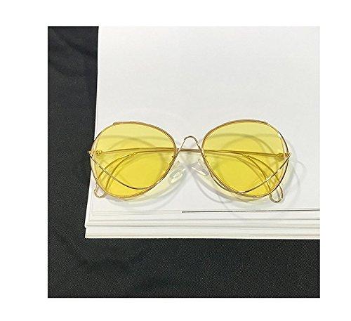 Korea Irregular Round face Personality Sunglasses Retro Sunglasses Women Girls Star Large face, Glasses Tide (Ocean Huang