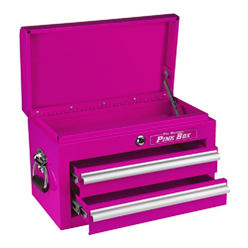- The Original Pink Box PB218MC 18-Inch 2-Drawer 18G Steel Mini Storage Chest w/ Lid Compartment, Pink