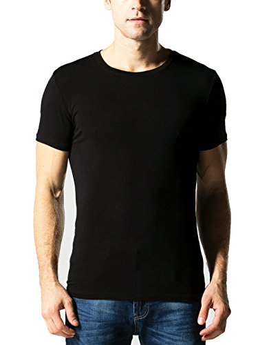 Liang Rou Men's Mini-Ribbed Stretch Crew Neck Tee Black M (Modal Ribbed)