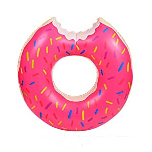 HAUTE FLOAT Giant 4 Foot Inflatable Donut Pool Tube with Pink Frosting