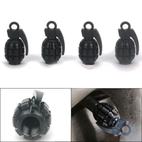 "(4 Count) Cool and Custom ""Grenade Bomb"" Tire Wheel Rim Air Valve Stem Dust Cap Seal Made of Metal {Black Color Metal Internal Threads for Easy Application Rust Proof Fits For Most Cars}"
