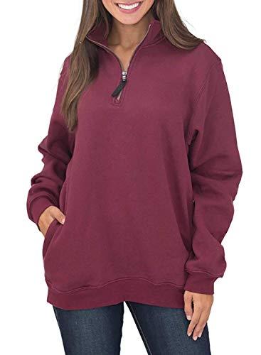 VIENJOY Womens Sweatshirts Oversized Long Sleeves Collar Quarter 1/4 Zip Fleece Pullover Sweatshirts for Women with Pockets Winter Outwear Tunic Top Shirts Burgundy M