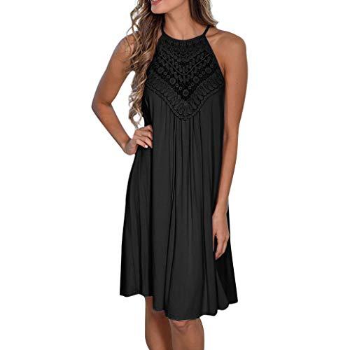 Women Summer Beach Dress,Sleeveless Lace Patchwork Casual Tank Dress Changeshopping Black