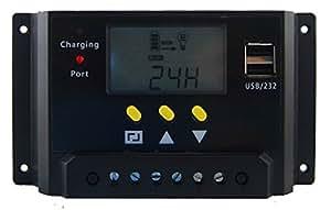 Global Solar suministro presenta la LMS serie inteligente controlador de carga solar 12/24VDC 30amperios con pantalla LCD, 2puertos USB y mando a distancia de carga modelo # lms2430