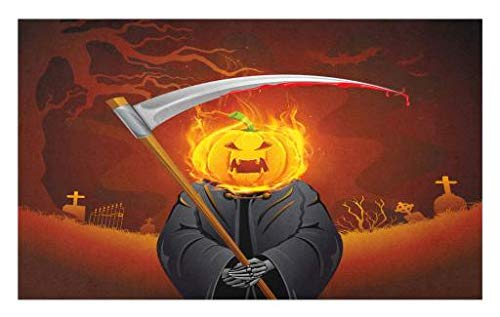 Lunarable Halloween Doormat, Pumpkin Grim Reaper Head with Burning Flames Character Scary Creature Night, Decorative Polyester Floor Mat with Non-Skid Backing, 30