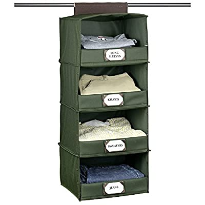The G.U.S No-Sag Hanging Deluxe 4-Shelf Closet Organizer With Front Flip-Down Flap, Olive Green, Set of 3