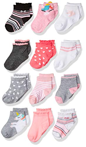 Cherokee Girls' Little 12 Pack Shorty Socks, unicorn hearts, 12-24 Months