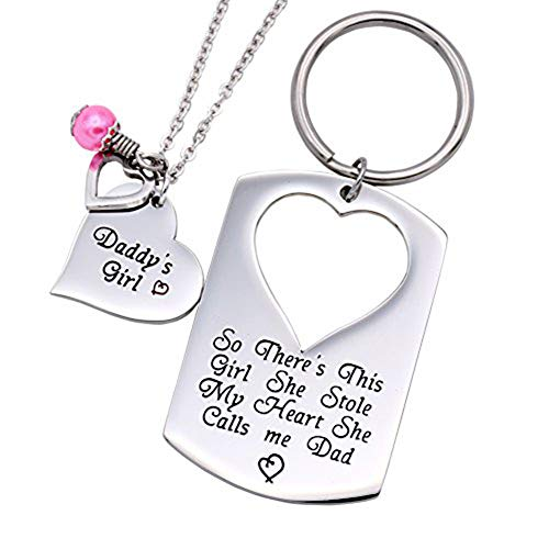 O.RIYA Gifts for Dad Necklace Jewelry, Father Daughter Keychain Jewelry, Daddys Girl Birthday Necklace Set, There's This Girl Who Stole My Heart She Calls Me Daddy (Christmas Father Daughter Gifts From To)