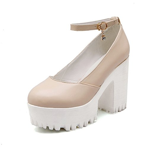 BalaMasa da donna a punta rotonda piattaforma fibbia in plastica resistente altezza high-heels pumps-shoes, Beige (Beige), 35