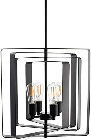Sabaria 4 Light Industrial Pendant Light Black Vintage Modern Hanging Light with LED Bulbs LL-P594-5BLK
