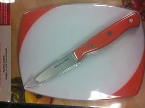 KitchenAid 2 Piece Cutting Board and Paring Knife Set - White/Orange