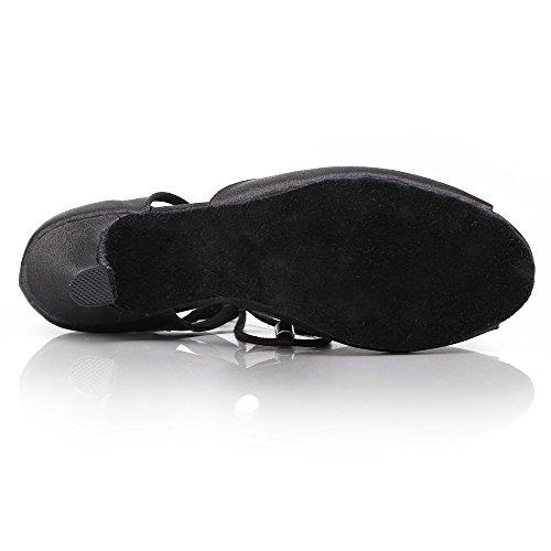 DLisiting Latin Dance Shoes Women Black Satin Lace up Salsa Ballroom Shoes (US7) by DLisiting (Image #5)