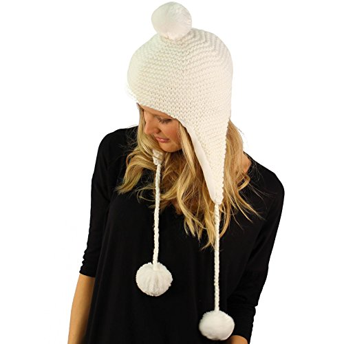 Winter Soft Fleece Lined Trooper Trapper Pilot Knit Chin Tie Ski Hat Cap White