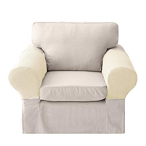 LERTREE 1 Pair Sofa Arm Slipcovers Elastic Sofa Armrest Protectors Removable Chair Sofa Armrest Covers (Beige)