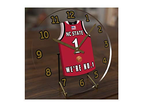 FanPlastic College Basketball USA - We're Number ONE College Hoops Jersey Themed Clocks - Support Your Team !!! (NC State Wolfpack)