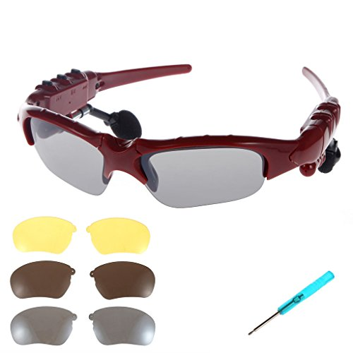 KINGCOO Wireless Bluetooth Sunglasses Headset Headphones Handfree for iPhone 6 6 Plus Samsung Galaxy S6 Edge Smart Phone with Remote Control Camera Shutter Function + Free Replaceable 3 pair lens - Sunglasses Iphone For Bluetooth