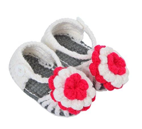 Smile YKK Strickschuh Strick Schuh Baby Unisex süße Stil One-Size 11cm Blume Grau Q