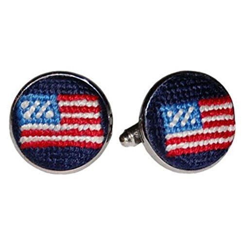 Smathers & Branson Hand Stitched Needlepoint American America USA Flag Cufflinks