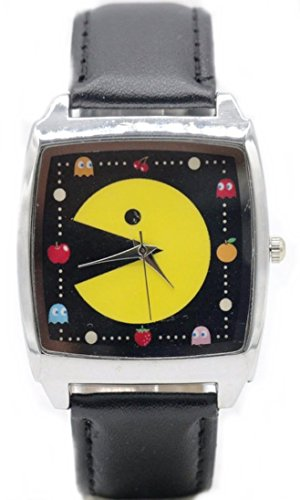 Pac Face Man (Pac-Man Square Face Black Leather Band Wrist Watch)