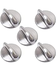 5 Packs WB03K10303 Cooktop Metal Control Knob Chrome Finish Replacement Part by Blue Stars - Exact Fit for GE Ranges - Replaces 1810427 AP4980246 WB03K10208